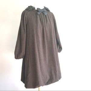 Marc Jacobs brown wool bubble bow dress lagenlook